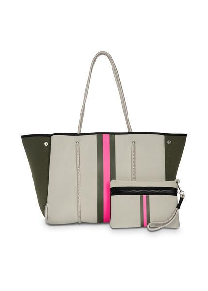 Haute Shore - Greyson Swank Neoprene Tote Bag w/Zipper Wristlet Inside (Greyson, Putty w/Army & Hot Pink Stripe)