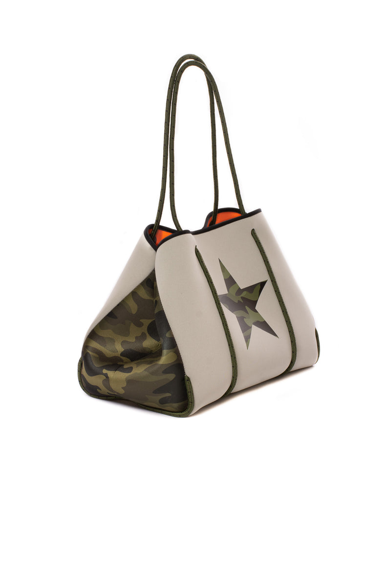 Haute Shore - Greyson Trooper Neoprene Tote Bag w/Zipper Wristlet Inside (GREYSON, Putty w/Green Camo Star, Sides & Orange Lining)