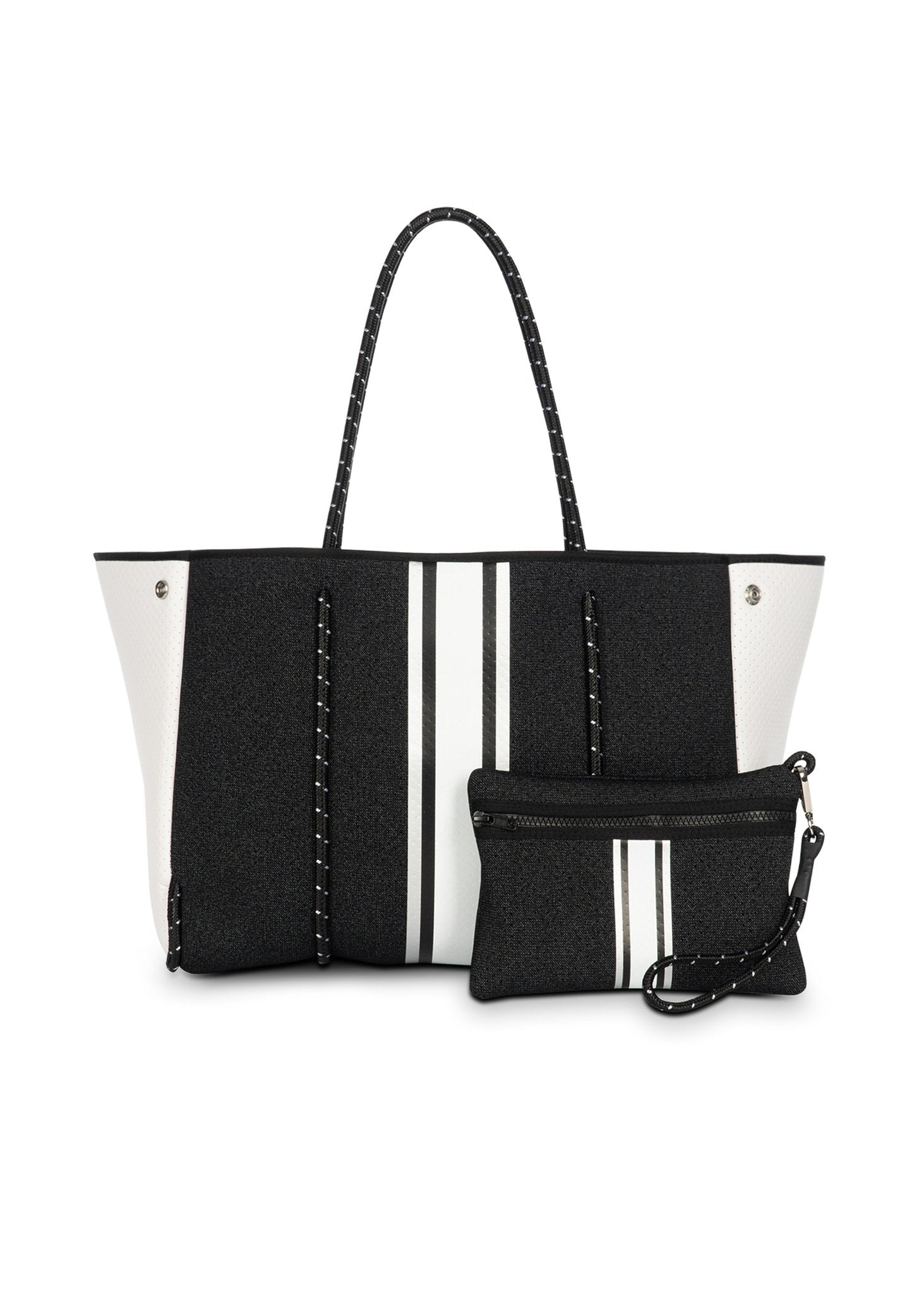 Haute Shore - Greyson Chic Neoprene Tote Bag w/Zipper Wristlet Inside (Greyson, Black Denim w/Silver, Black, & White stripe)