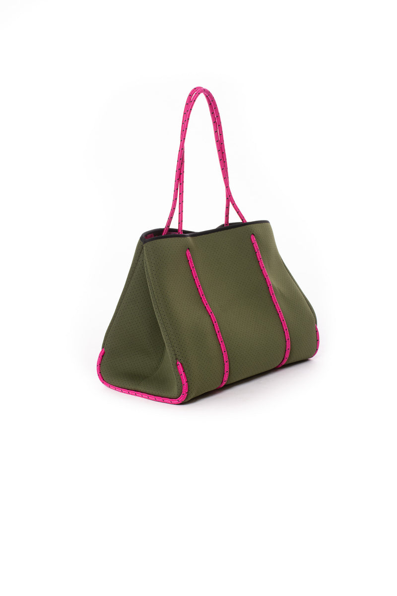 Haute Shore - Sweet Neoprene Tote Bag w/Tethered Removable Wristlet (Greyson, Evergreen w/Pink Camo).