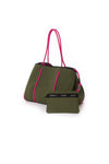 Haute Shore - Sweet Neoprene Tote Bag w/Tethered Removable Wristlet (Greyson, Evergreen w/Pink Camo). alt view 3