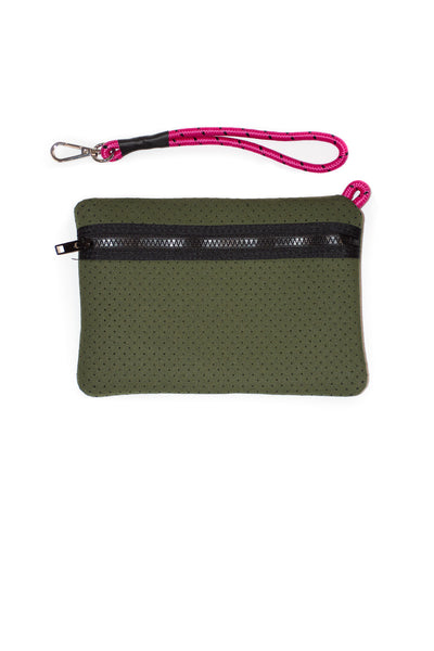 Haute Shore - Sweet Neoprene Tote Bag w/Tethered Removable Wristlet (Greyson, Evergreen w/Pink Camo). alt view 8