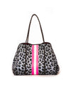 Haute Shore - Babe Neoprene Tote Bag W/Tethered Removable Wristlet (Greyson, Snow Leopard Print w/ Pink and White Stripe)