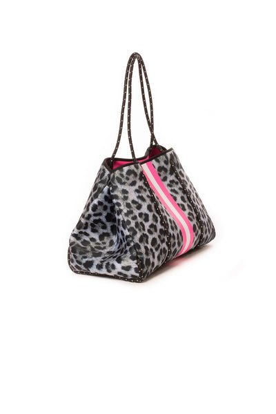 Haute Shore - Babe Neoprene Tote Bag W/Tethered Removable Wristlet (Greyson, Snow Leopard Print w/ Pink and White Stripe) alt view 1