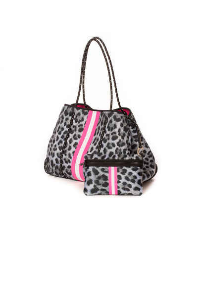 Haute Shore - Babe Neoprene Tote Bag W/Tethered Removable Wristlet (Greyson, Snow Leopard Print w/ Pink and White Stripe) alt view 3