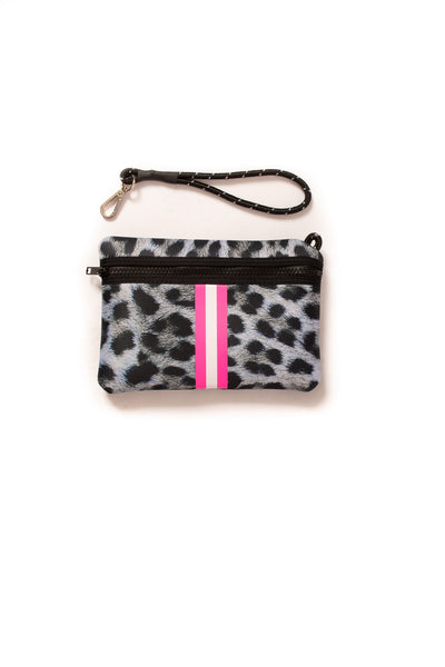 Haute Shore - Babe Neoprene Tote Bag W/Tethered Removable Wristlet (Greyson, Snow Leopard Print w/ Pink and White Stripe) alt view 4