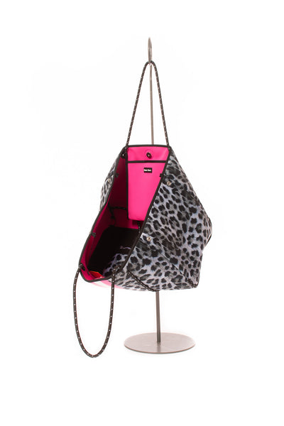 Haute Shore - Babe Neoprene Tote Bag W/Tethered Removable Wristlet (Greyson, Snow Leopard Print w/ Pink and White Stripe) alt view 5