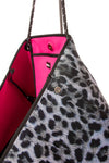 Haute Shore - Babe Neoprene Tote Bag W/Tethered Removable Wristlet (Greyson, Snow Leopard Print w/ Pink and White Stripe) alt view 6