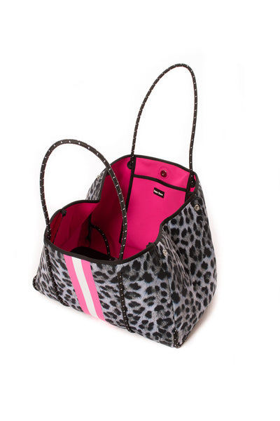 Haute Shore - Babe Neoprene Tote Bag W/Tethered Removable Wristlet (Greyson, Snow Leopard Print w/ Pink and White Stripe) alt view 7