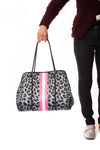Haute Shore - Babe Neoprene Tote Bag W/Tethered Removable Wristlet (Greyson, Snow Leopard Print w/ Pink and White Stripe) alt view 8