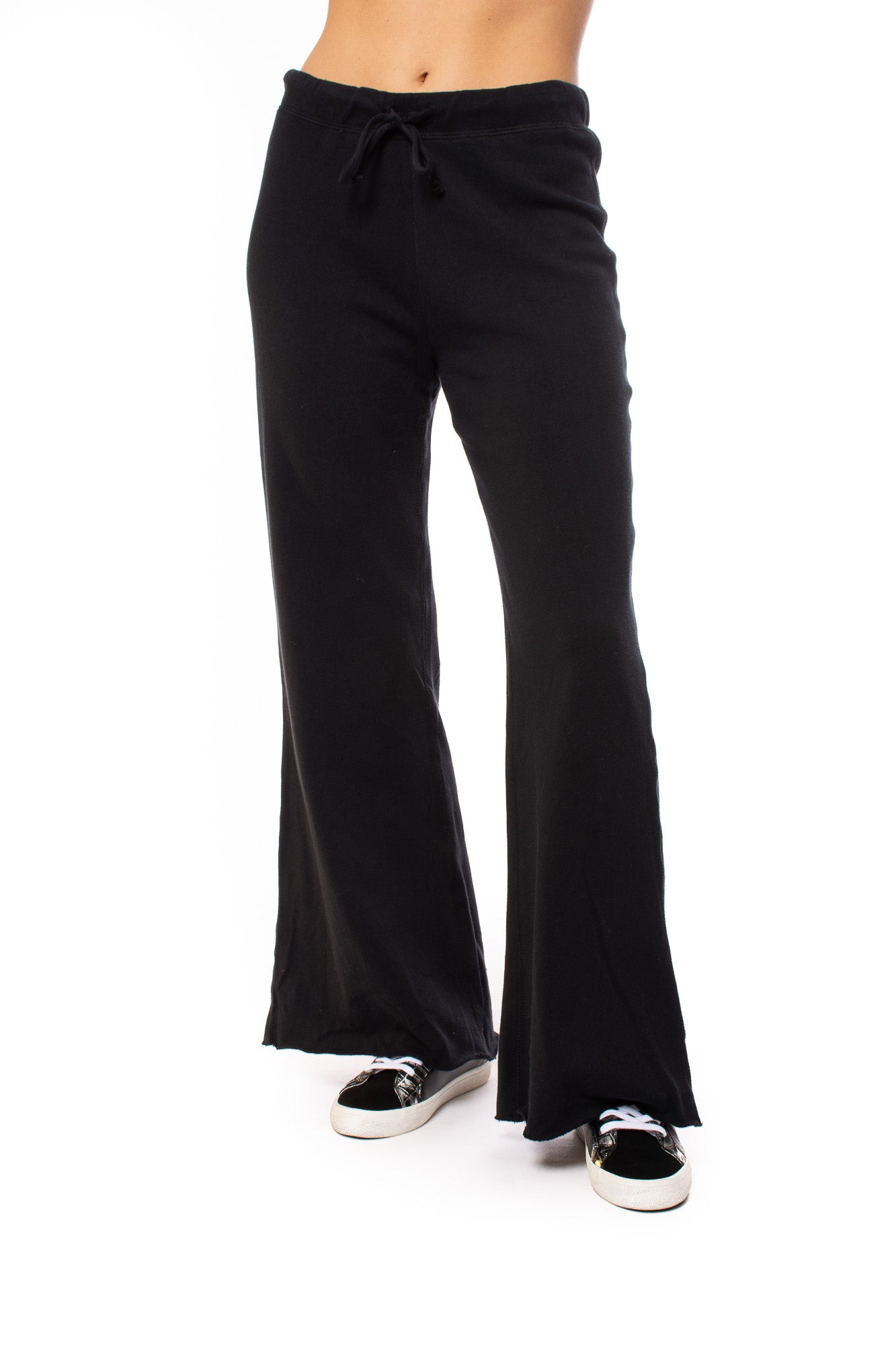 Chaser - Cotton Fleece Wide Leg Drawstring Lounger (CW8579, Black)