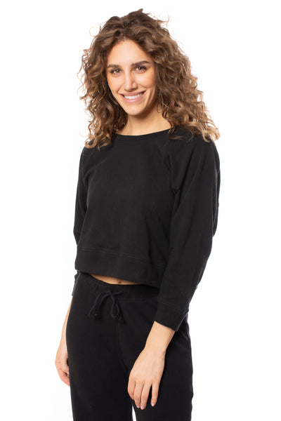 Chaser - Cotton Fleece Crop Batwing Sweater (CW8587, Black) alt view 1