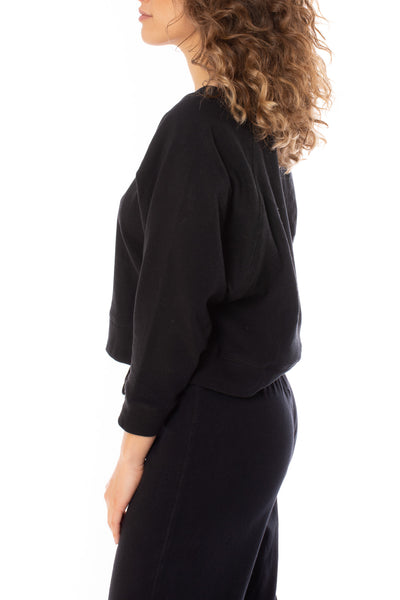 Chaser - Cotton Fleece Crop Batwing Sweater (CW8587, Black) alt view 2