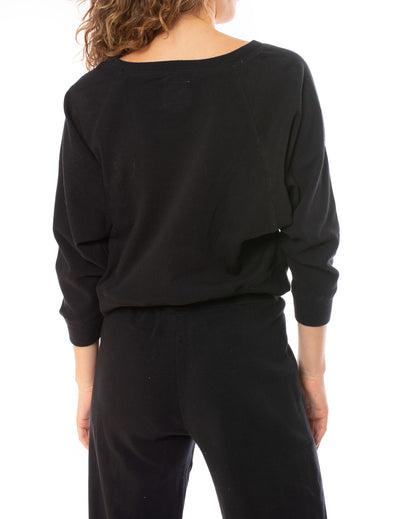 Chaser - Cotton Fleece Crop Batwing Sweater (CW8587, Black) alt view 3