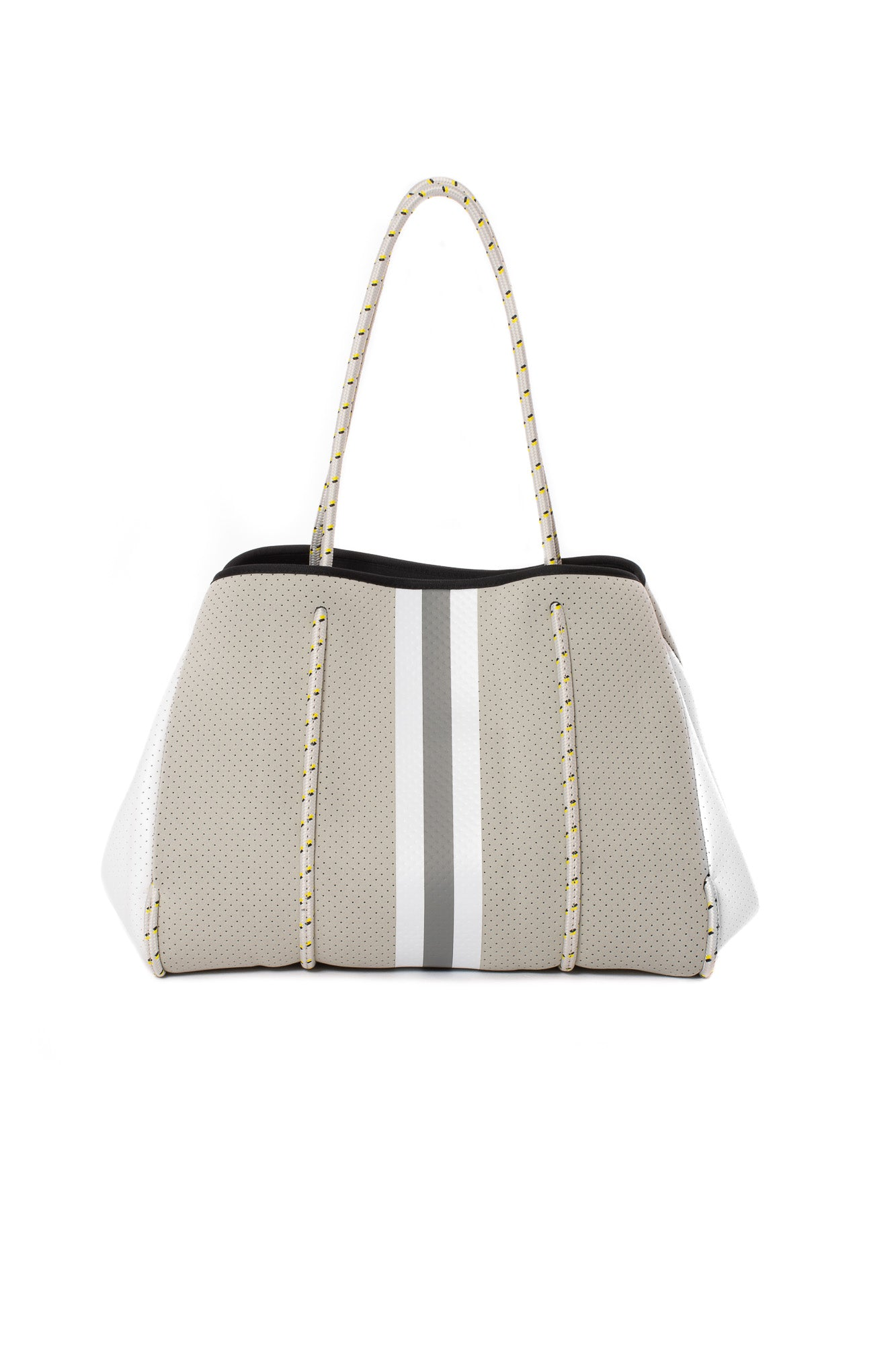 Haute Shore - Greyson Cruise Neoprene Tote Bag w/Zipper Wristlet Inside (Greyson, Silver w/Grey & White Stripe)