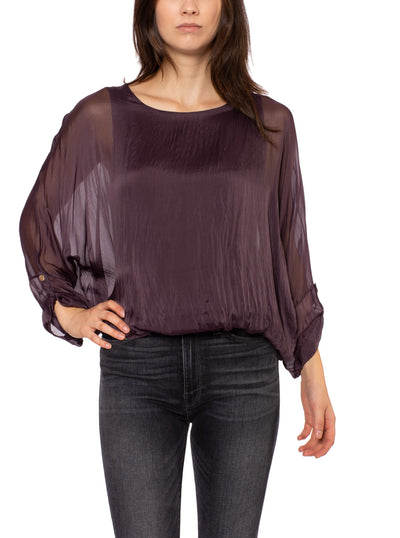 Made In Italy - Sheer Flow Top With Bow Tie & Under Cami (8855, Purple)