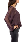 Made In Italy - Sheer Flow Top With Bow Tie & Under Cami (8855, Purple) alt view 1