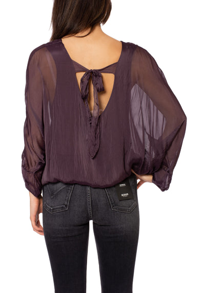 Made In Italy - Sheer Flow Top With Bow Tie & Under Cami (8855, Purple) alt view 2