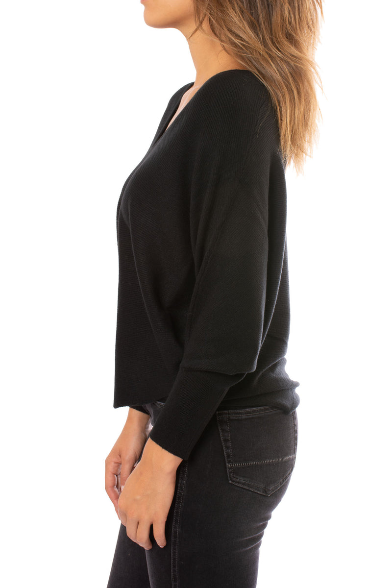 Kerisma - Dolman Deep V Neck Ribbed (The Perfect Sweater) (G550V, Black)