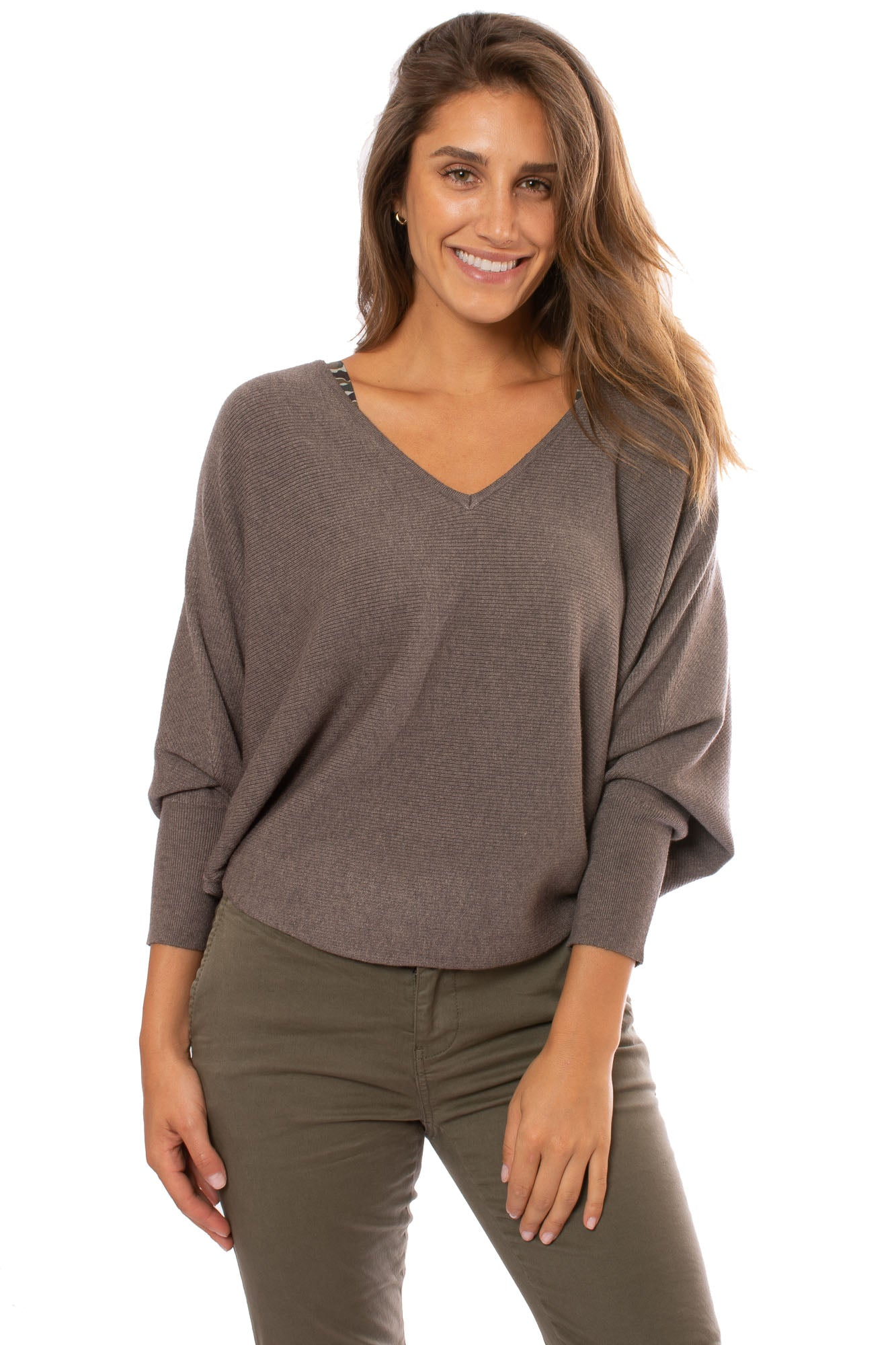 Kerisma - Dolman Deep V Neck Ribbed Sweater (G550V, Charcoal)