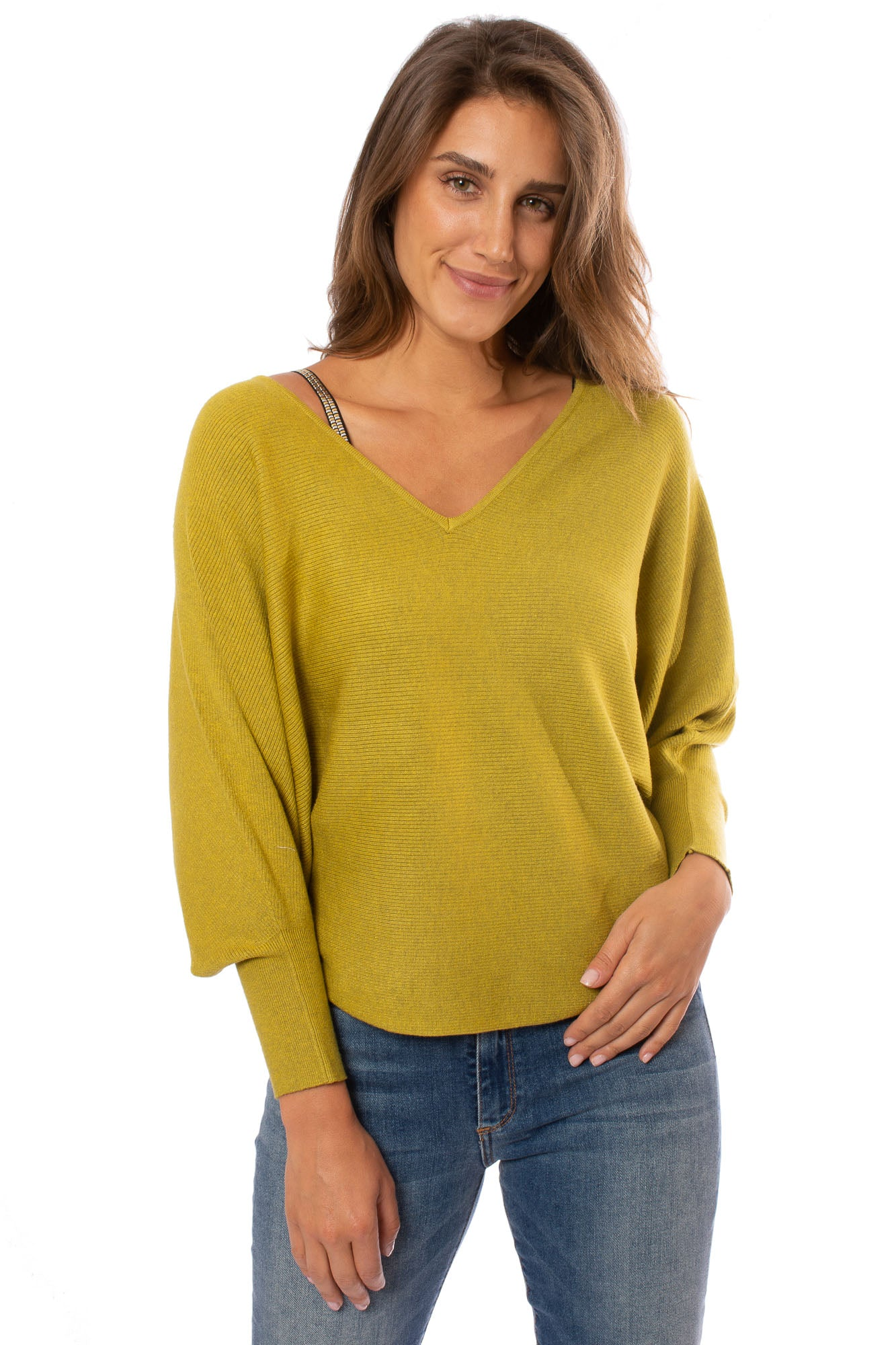 Kerisma - Dolman Deep V Neck Ribbed Sweater (G550V, Chartreuse)