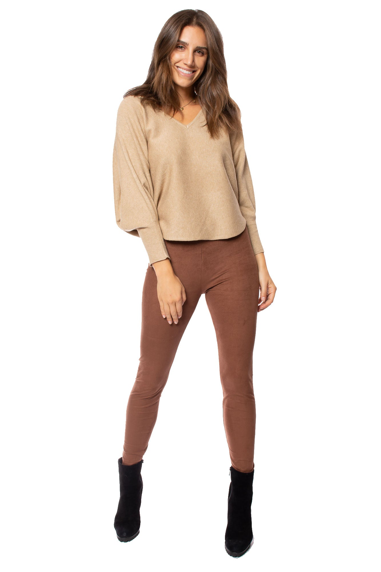Kerisma - Dolman Deep V Neck Ribbed Sweater (G550V, Camel)