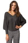 Kerisma - Dolman Deep V Neck Ribbed Sweater (G550V, Charcoal) alt view 1