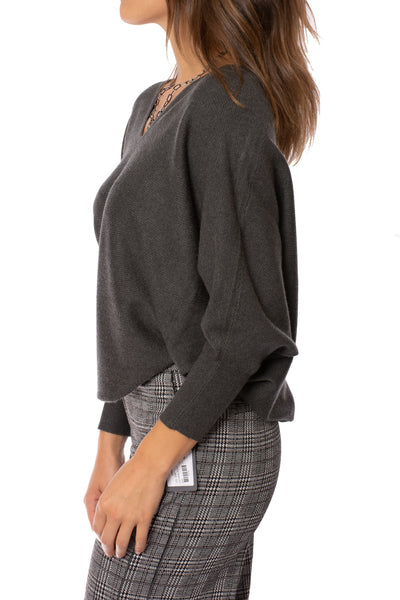 Kerisma - Dolman Deep V Neck Ribbed Sweater (G550V, Charcoal) alt view 2