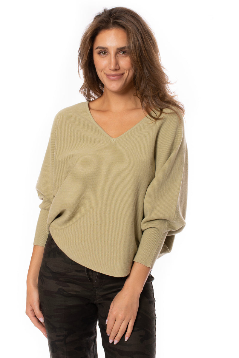 Kerisma - Ribbed V Neck Sweater (G550V, Sage)