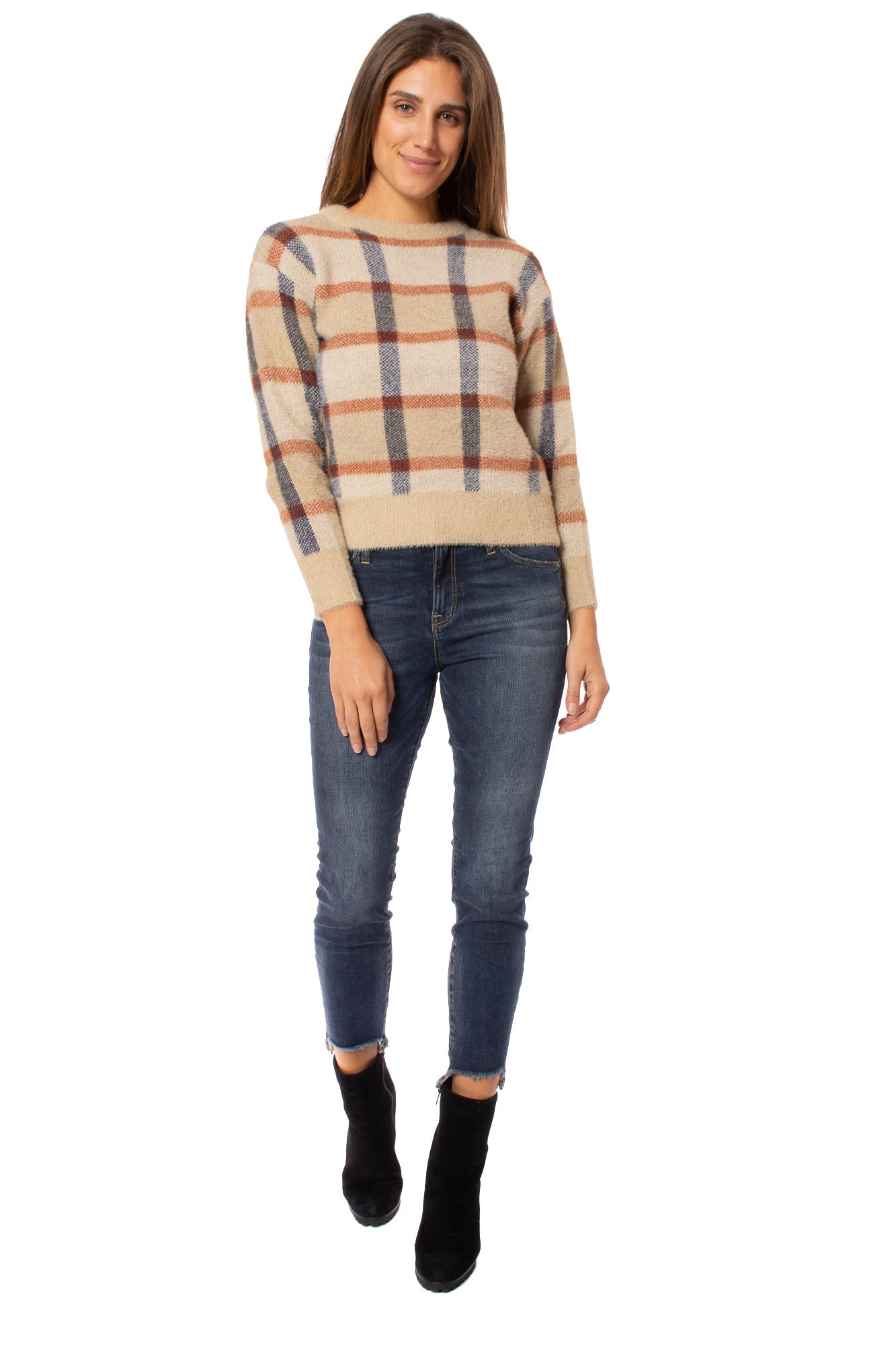 To The Loyal - Checkered Sweater (TMK1108, Tan)
