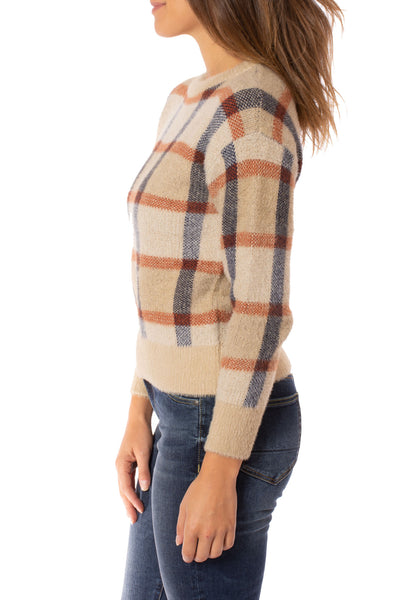 To The Loyal - Checkered Sweater (TMK1108, Tan) alt view 2