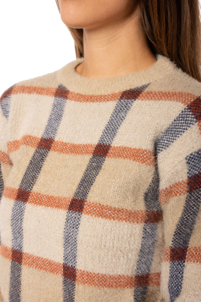 To The Loyal - Checkered Sweater (TMK1108, Tan) alt view 6