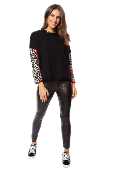 To The Loyal - Color Block Cheetah Sweater (TMK1045, Black)