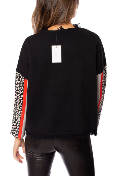 To The Loyal - Color Block Cheetah Sweater (TMK1045, Black) alt view 4