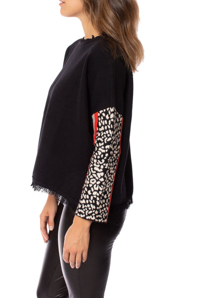To The Loyal - Color Block Cheetah Sweater (TMK1045, Black) alt view 5