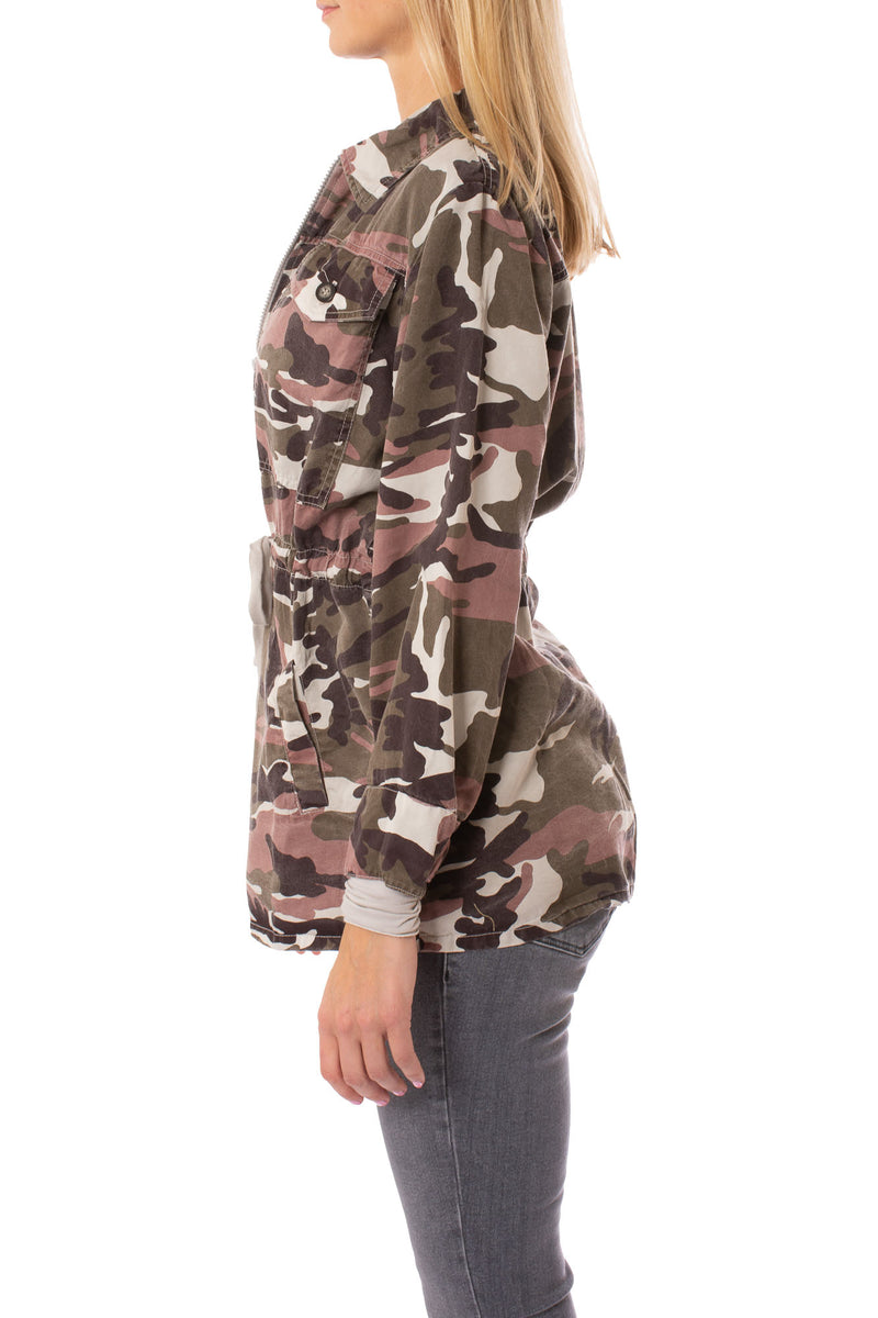 Hard Tail Forever - Six Pocket Draw String Zip Camo Jacket (BURG-12, Concrete Camo)