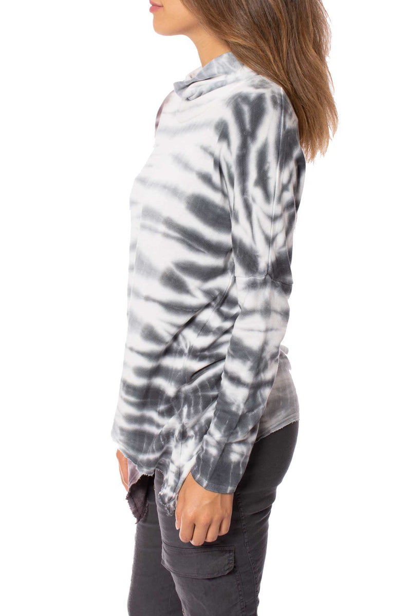XCVI - Asymmetrical Cowl Neck Tie-Dye Sweater (13865b, Dark Red & Grey Tie-Dye)