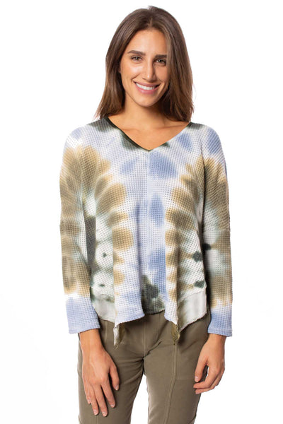 XCVI - Maya V Neck Tie-Dye Sweater (13940b, Blue & Green Tie-Dye) alt view 1