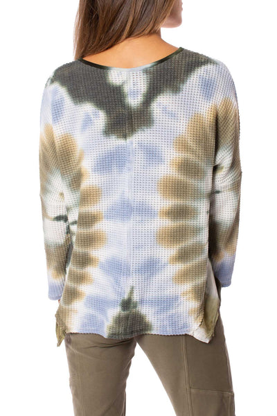 XCVI - Maya V Neck Tie-Dye Sweater (13940b, Blue & Green Tie-Dye) alt view 3