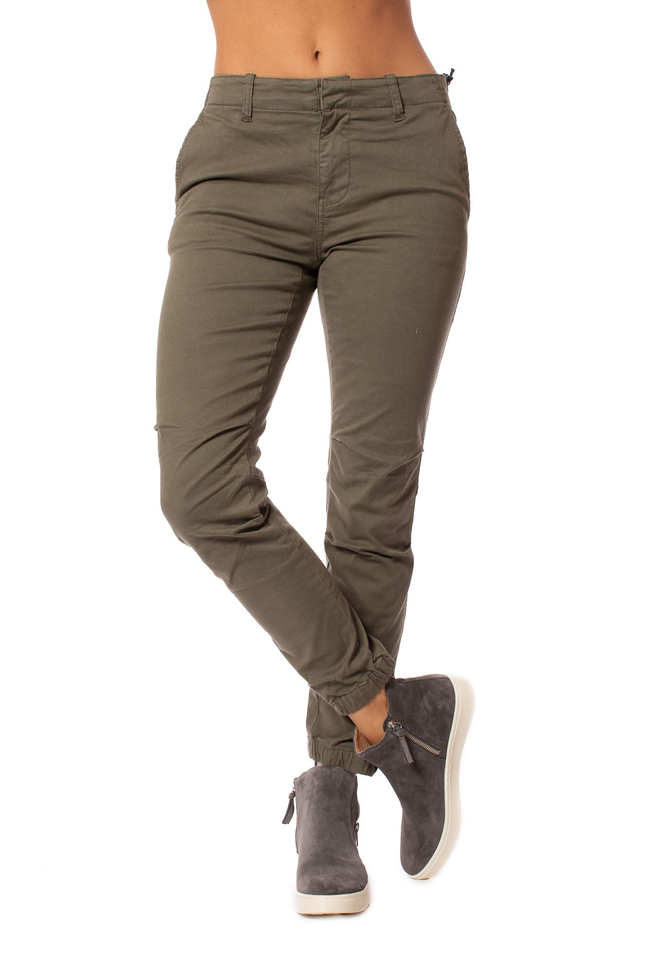 Stonefield - Jogger Jeans W/Zipper Elastic Hems (SW01003, Forest)