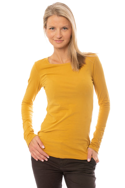 Supima/Lycra Long Sleeve Scoop Tee (Style SL-69, Honey) by Hard Tail Forever