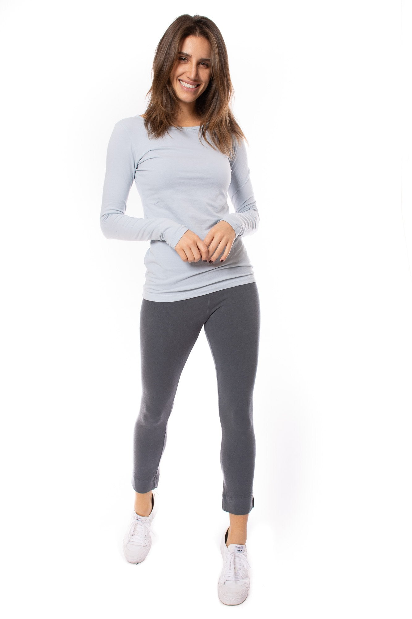 Hard Tail Forever - Supima/Lycra Long Sleeve Scoop Tee (SL-69, Silver Blue)