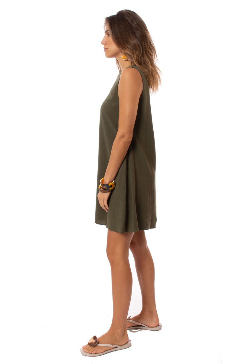 Apricot - A Line Sleevless Dress (450561, Khaki)