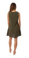 Apricot - A Line Sleevless Dress (450561, Khaki) alt view 2