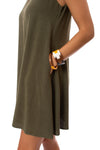 Apricot - A Line Sleevless Dress (450561, Khaki) alt view 3