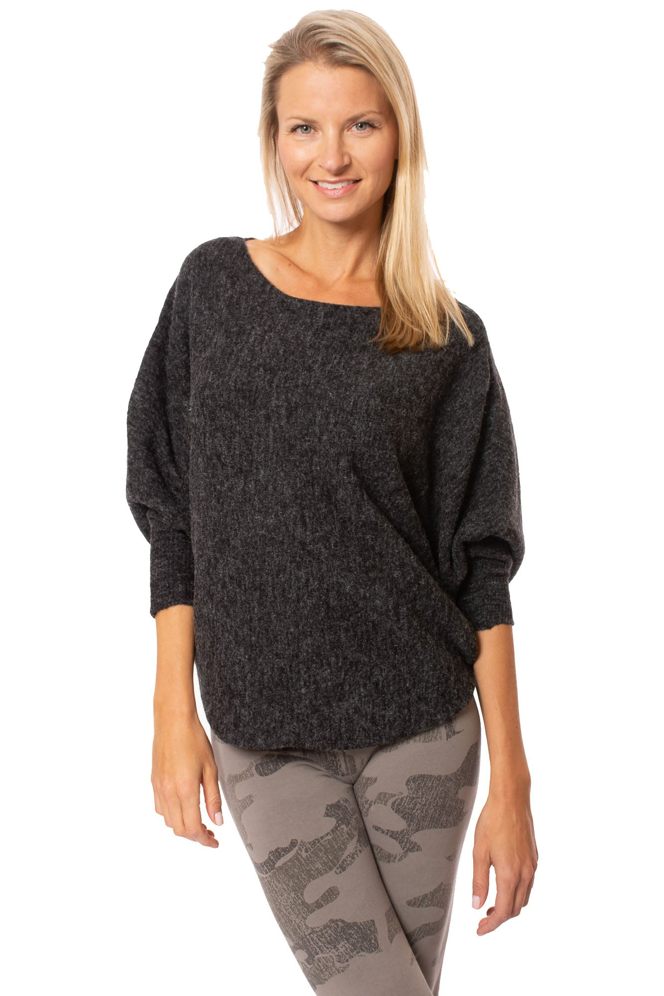 Kerisma - Dolman Sleeve Fuzzy Sweater (G550C, Gray/Black)