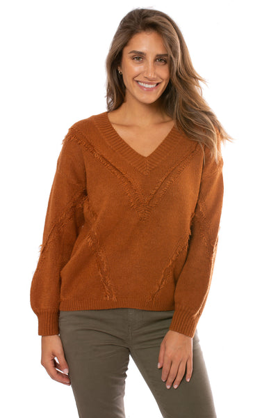Mystree - V Neck Loose Fringe Seam Sweater (18809, Rust)