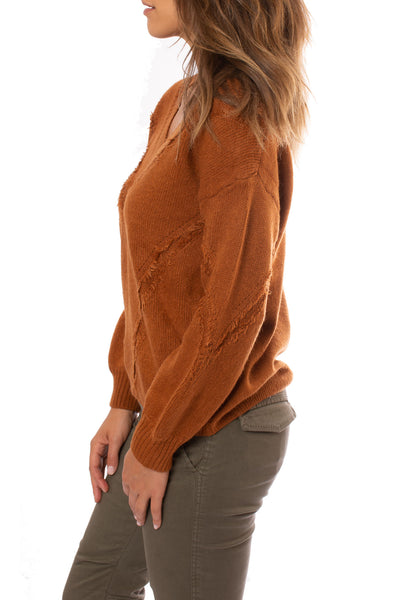 Mystree - V Neck Loose Fringe Seam Sweater (18809, Rust) alt view 1