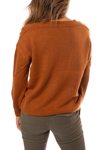 Mystree - V Neck Loose Fringe Seam Sweater (18809, Rust) alt view 2