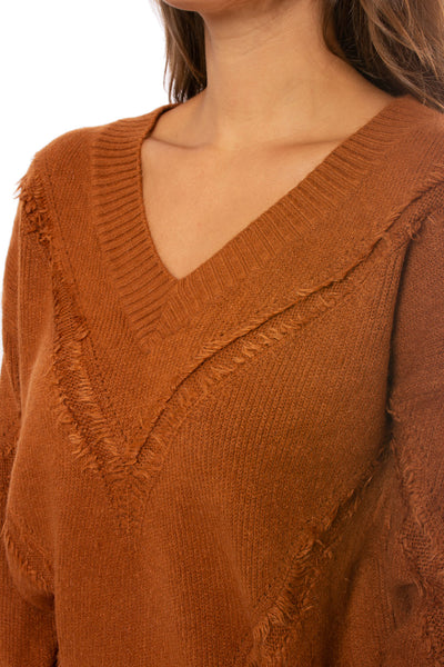 Mystree - V Neck Loose Fringe Seam Sweater (18809, Rust) alt view 5